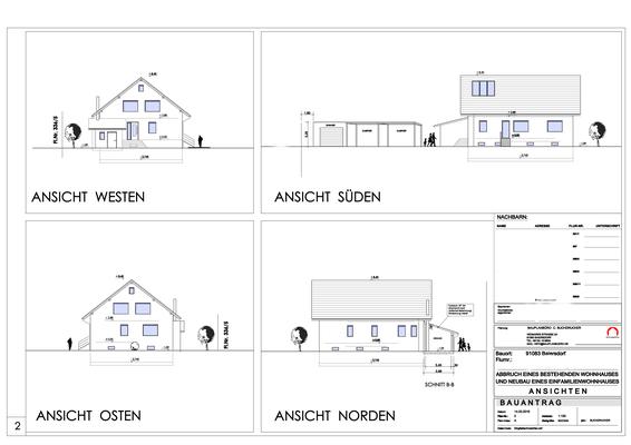 Neubau eines Einfamilienwohnhauses_Baiersdorf_Bauantrag Ansichten