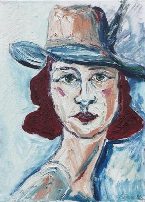 Frau mit Hut  (Öl auf Leinwand)