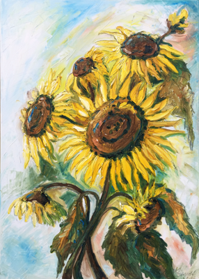 Sonnenblumen  (Öl auf Leinwand)