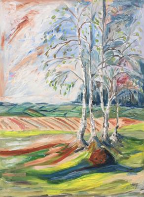 Birken im Frühling  (Öl auf Leinwand)