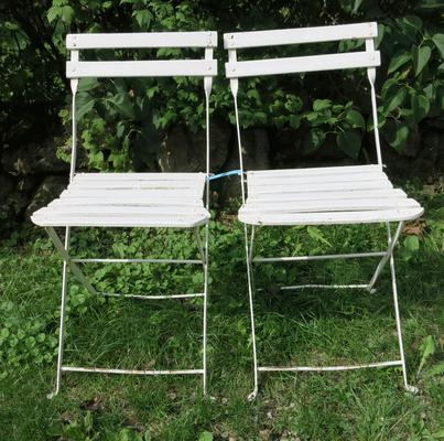 € 85,00 – Pärchenstühle, sehr schmal zusammenklappbar