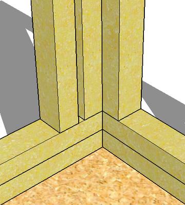 Kombiniert: Ergibt eine Ecke, wo man inwändig Platten gut befestigen kann
