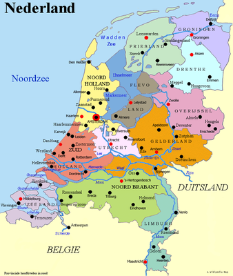Map of Netherlands with all 12 provinces, which can be traced back on site.