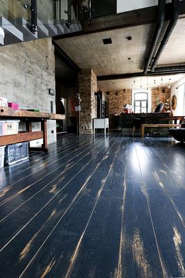 """Vintage Eichendielen """"Loft"""" anthrazit im Wohnbereich"""