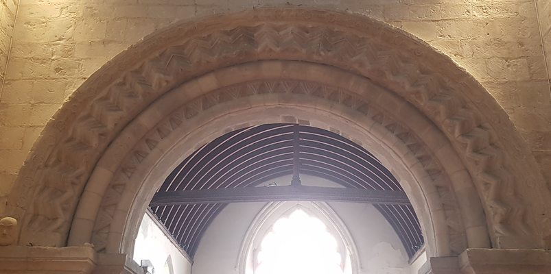 Crossing tower is real Norman with superb detail on the capitals and corbels.