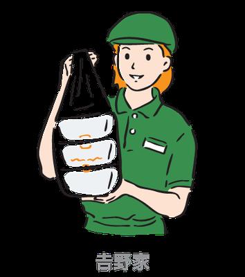 𠮷野家_毎日80円引き定期券_イラスト