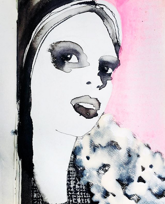'Somebody's Opening The Door' / mixed media on paper / size 20 cm x 15 cm / € 35,-