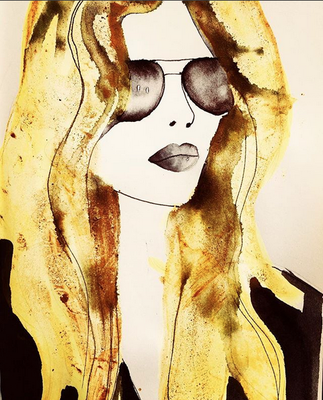 'Girl With The Golden Hair' / mixed media on paper / size 20 cm x 15 cm / € 40,- / Anja de Boer 2017