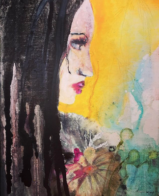 'Romantic Dreads' / acrylic on canvas / size 20 cm x 15 cm / € 100,-