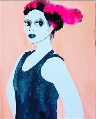 'Balletgirl' / mixed media on paper / size 29 cm x 20 cm / € 50,- / Anja de Boer 2017