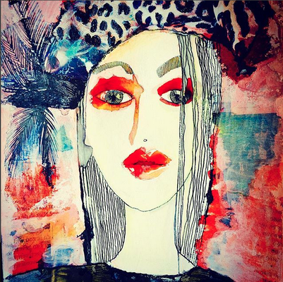 'Portrait' / mixed media on paper / sold / Anja de Boer 2015