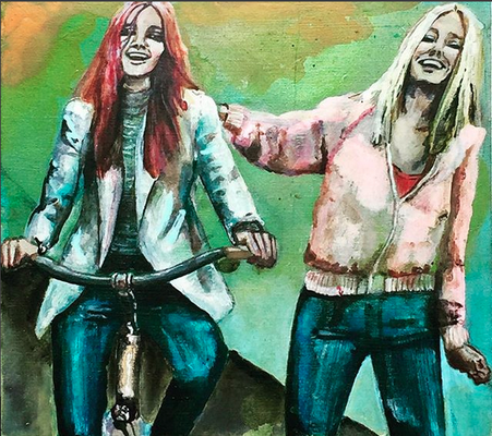 'Biking BFF's' / acrylic on wood / size 20 cm x 18 cm / € 100,- / Anja de Boer 2018