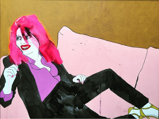 'Oh Yeah Honey, Come to Mama' / mixed media on paper / size 66 cm x 51 cm including frame and passepartout / € 350,-