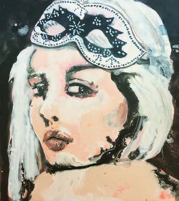 'Portrait' / acrylic on wood / size 20 cm x 18 cm / sold