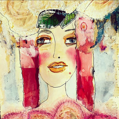 'Party Girl' / mixed media on paper / size 19 cm x 24 cm / € 95,- / Anja de Boer 2015