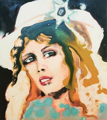 'Cowgirl' / acrylic on wood / size 20 cm x 18 cm / € 100,-
