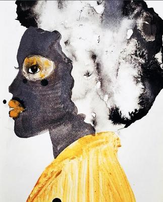 'Cape Golden' / mixed media on paper / size 20 cm x 15 cm / € 40,- / Anja de Boer 2017