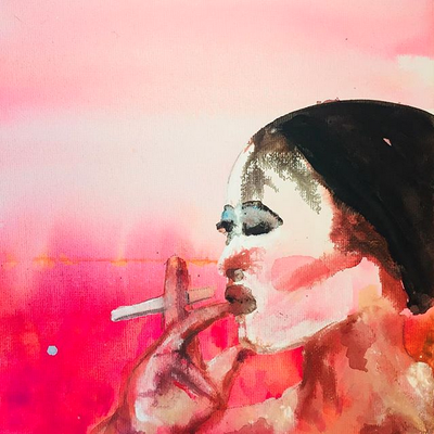 'Fuma, Fuma' / acrylic on canvas / size 20 cm x 20 cm / €95, / Anja de Boer 2017