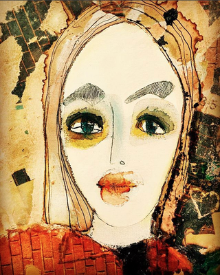 Portrait / mixed media on paper / sold / Anja de Boer 2015