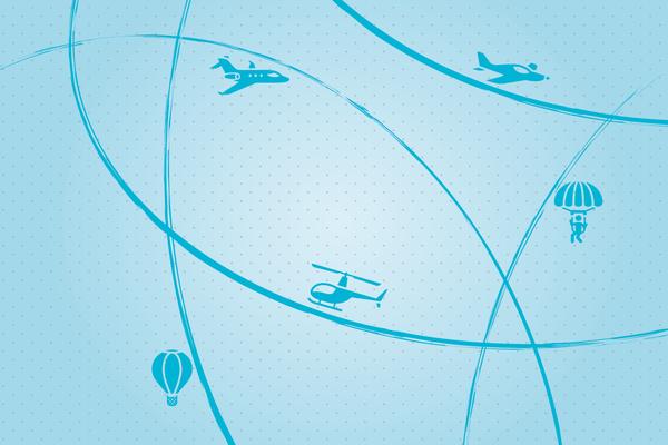 Wandbild Flugzeuge am Radar#2 - blau