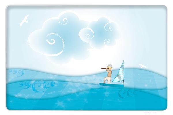 Wandbild Meer mit Segler