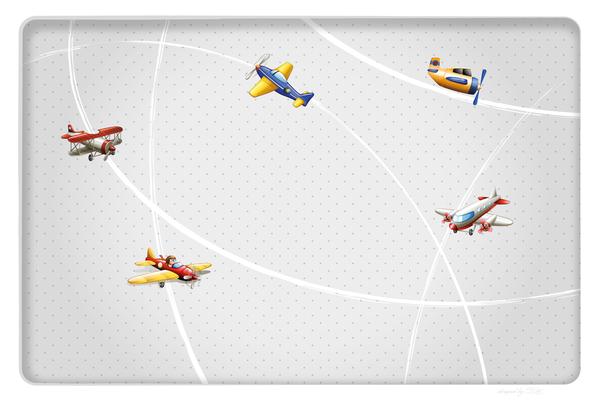 Wandbild Flugzeuge am Radar - grau