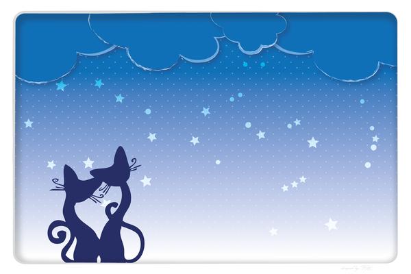 Wandbild Sterne und Katzen