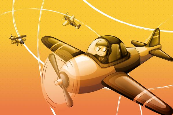 Wandbild Flugzeug am Himmel - gelb-orange