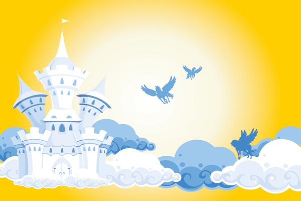 Kindertapete Schloss und Pferde - blau gelb