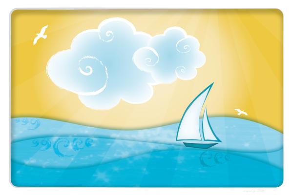 Wandbild Meer mit Boot und Sonne
