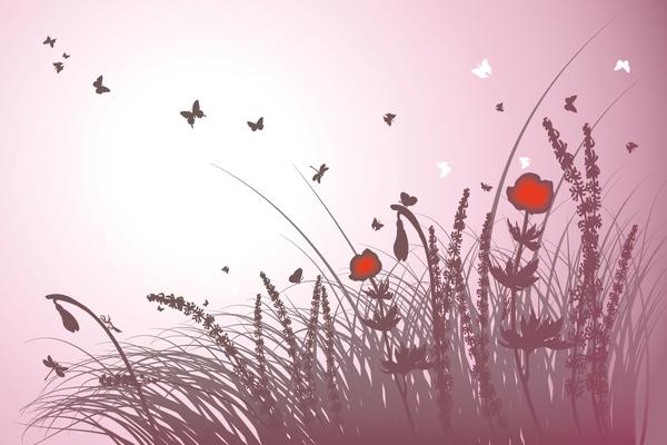 Wandbild Blumen rosa