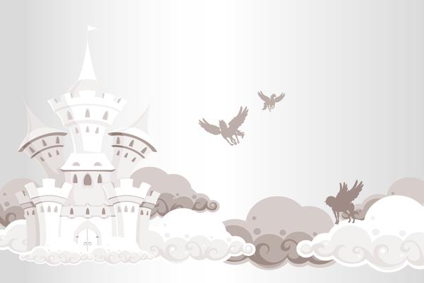 Kindertapete Schloss und Pferde - grau
