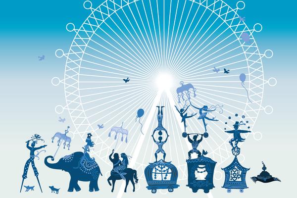 Wandbild Zirkus - blau