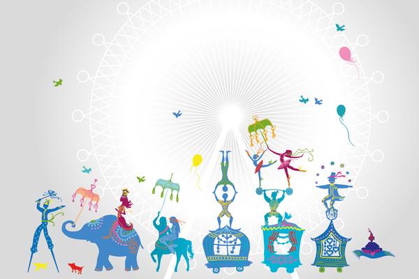 Wandbild Zirkus - grau-blau