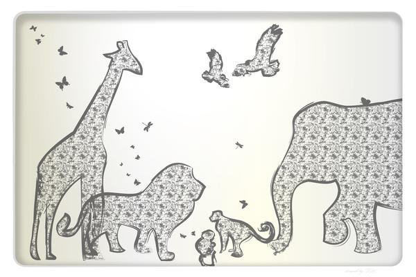 Wandbild Tiere Safari Elefant Giraffe Löwe Affen