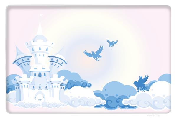 Kindertapete Schloss und Pferde - blau rosa