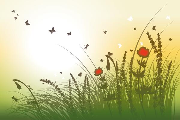 Wandbild Blumen gelb-grün