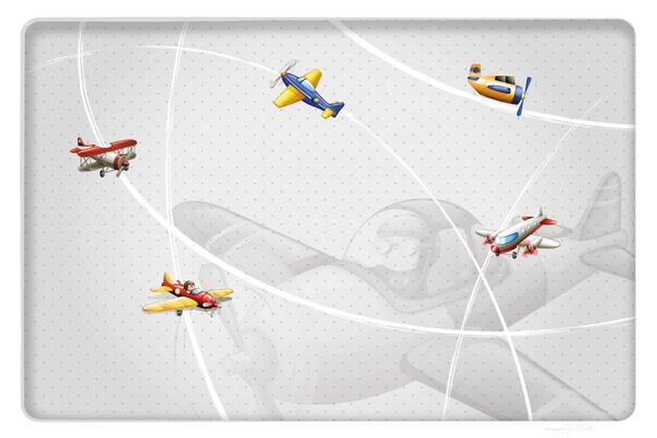 Wandbild Flugzeuge am Radar - grau mit großem Flieger