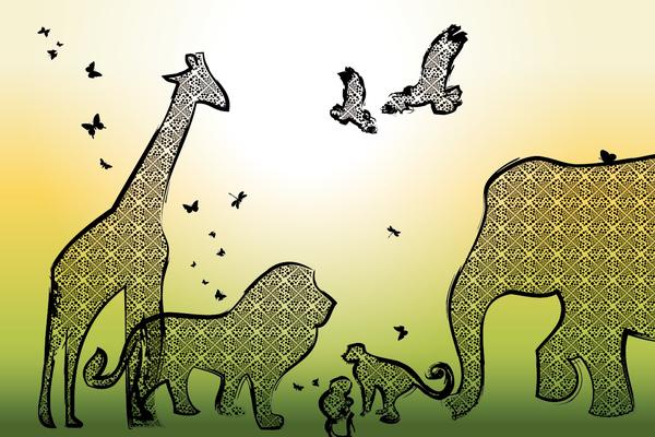 Wandbild Tiere Afrikas - gelb-grün