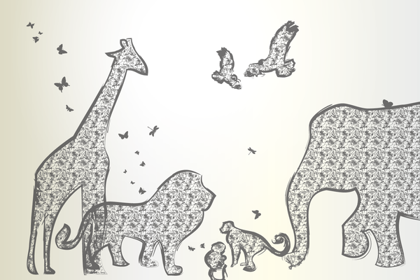 Wandbild Tiere Afrikas - grau