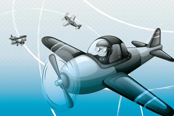 Wandbild Flugzeug am Himmel - blau