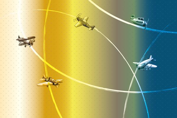 Wandbild Flugzeuge am Radar - bunt
