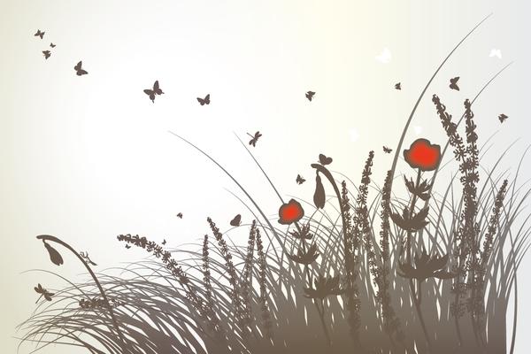 Wandbild Blumen grau