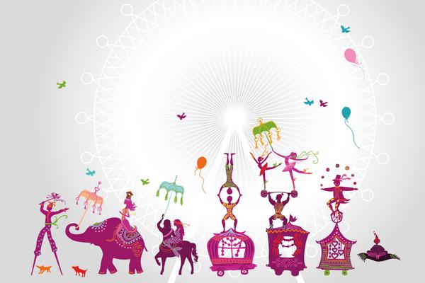 wandgestaltung mit tapeten zirkus, wandbild zirkus - kindertapeten & wandbilder, Design ideen