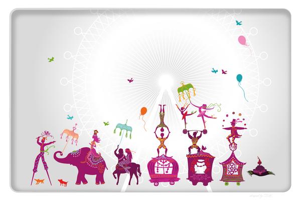 Wandbild Zirkus - grau-pink