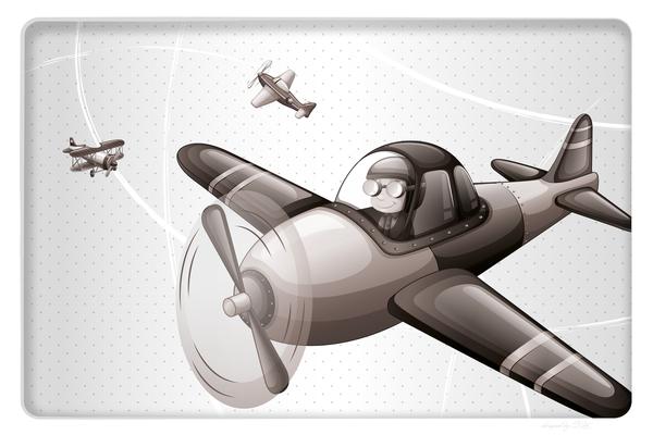Wandbild Flugzeug am Himmel - grau