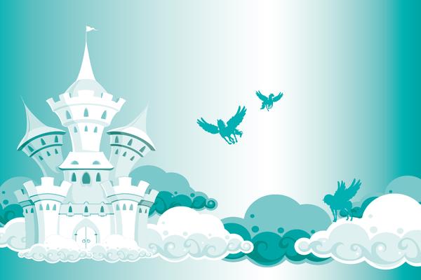 Kindertapete Schloss und Pferde - smaragdgrün