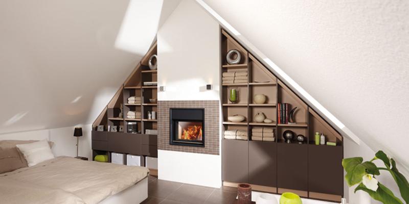 Wohnen unterm Dach - Schranksystem in Caramel mit mit Türen in Lava schafft Gemütlichkeit