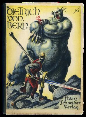 Dietrich von Bern tötet einen Riesen, Buchillustration von Karl Mahr (1920er Jahre)