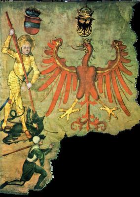 Fahne des Tiroler Aufgebots mit der Darstellung St. Georgs, 14. Jahrhundert